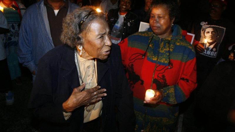 Amelia Boynton Robinson, a voting rights activist, has died at age 104. She's seen here on Election Night in 2008.