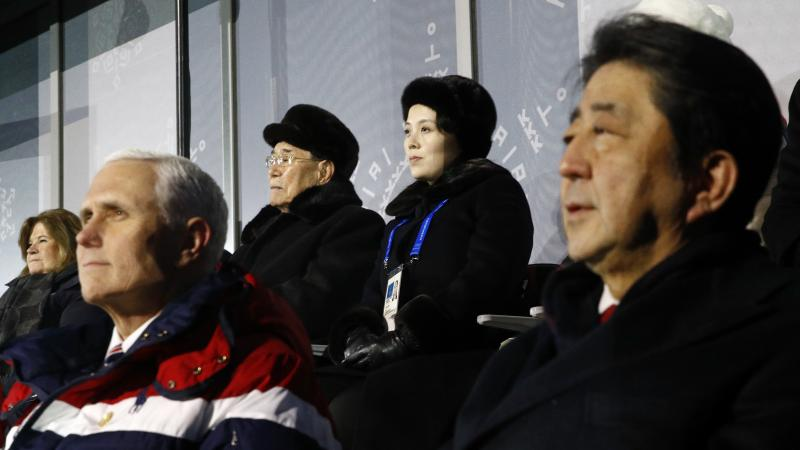 Kim Yong Nam, top left, president of the Presidium of North Korean Parliament, and Kim Yo Jong, sister of North Korean leader Kim Jong Un, top right, sit behind U.S. Vice President Mike Pence, bottom left, and Japanese Prime Minister Shinzo Abe, bottom ri