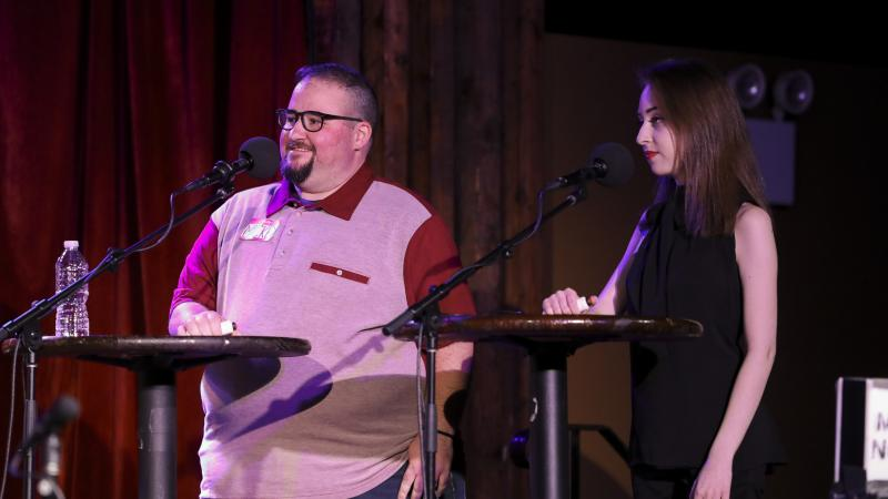Contestants Mickey Lambert and Damian Benskin appear on Ask Me Another at the Bell House in Brooklyn, New York.