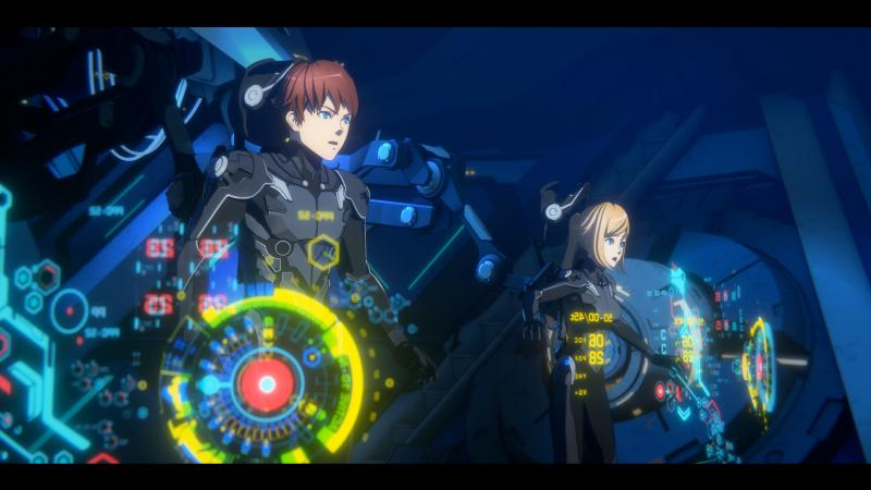 Taylor (voiced by Calum Worthy) and Hayley (voiced by Gideon Adlon) pilot a training Jaeger in the Netflix animated series Pacific Rim: The Black.