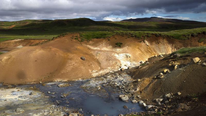 View of Seltun geothermal field in Krysuvik on the Reykjanes peninsula in southwestern Iceland on July 5, 2014.