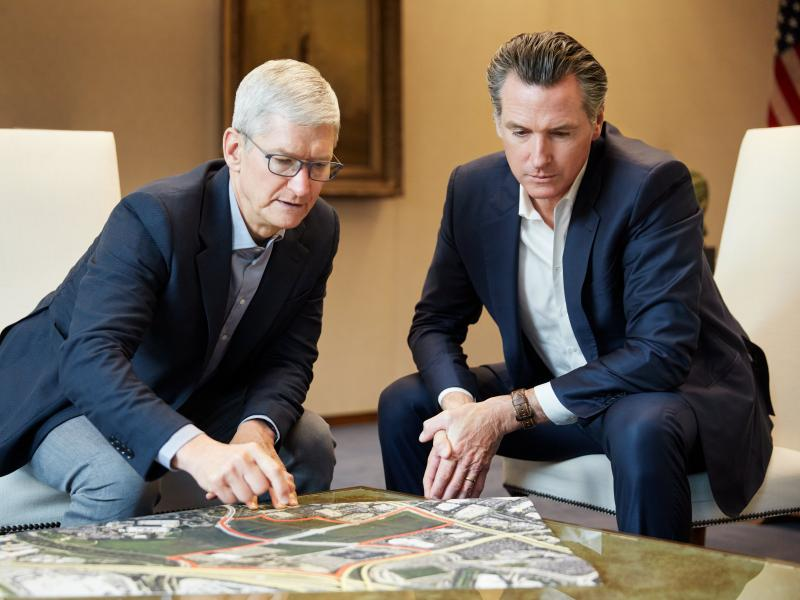 Apple CEO Tim Cook and California Gov. Gavin Newsom unveiled the tech company's plan to help ease the housing crisis, with Apple pledging $2.5 billion for mortgages, development and other initiatives.