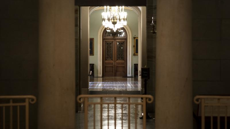 Empty hallways outside the U.S. Senate chamber, where the body will consider major pieces of legislation that could allocate trillions of dollars for infrastructure and other priorities.