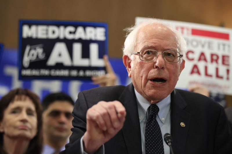 Sen. Bernie Sanders, I-Vt., introduced the Medicare for All Act of 2019 on Capitol Hill Wednesday.