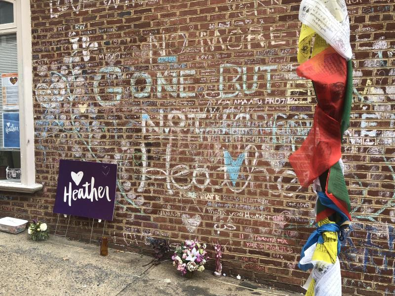 A makeshift memorial on the street where Heather Heyer was killed when a car rammed into a crowd during a white supremacist rally in 2017.