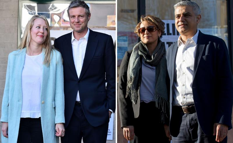 Conservative mayoral candidate Zac Goldsmith and his wife, Alice (left); Britain's Labour Party candidate Sadiq Khan and his wife, Saadiya. The candidates cast their votes on Thursday in hopes of becoming London's next mayor.