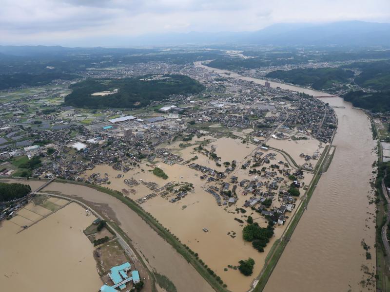 Heavy rain has flooded in Hitoyoshi, Kumamoto prefecture in Japan on Saturday.