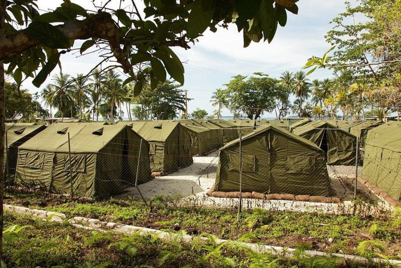 Facilities at the Manus Island Regional Processing Facility in 2012, used for the detention of asylum seekers who entered Australian waters.