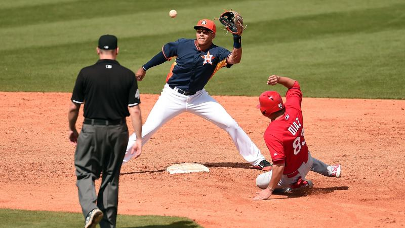 Did the St. Louis Cardinals try to steal more than second base from the Houston Astros? The FBI is looking into a hacking attack on a key Astros database. Here, the Cardinals' Aledmys Diaz is tagged out at second by Carlos Correa of the Astros during a sp