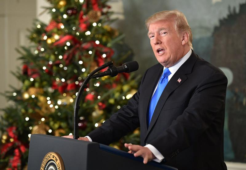 President Trump delivers a statement on Jerusalem from the White House on Wednesday.