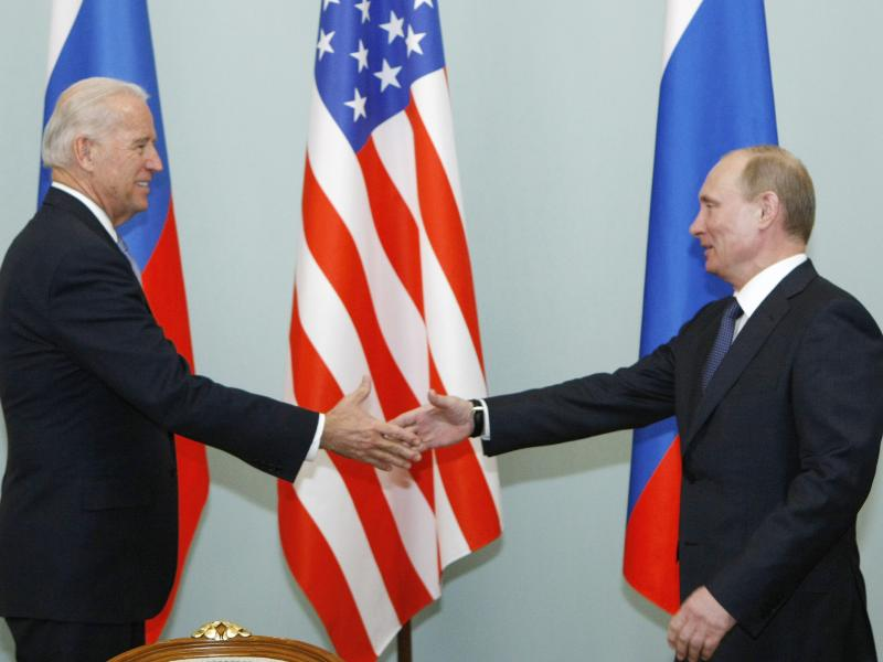 President Biden and Russian President Vladimir Putin will have a summit next month in Geneva. But it's not their first face-to-face meeting. Here, Putin greets Biden, then vice president, in March 2011 in Moscow.