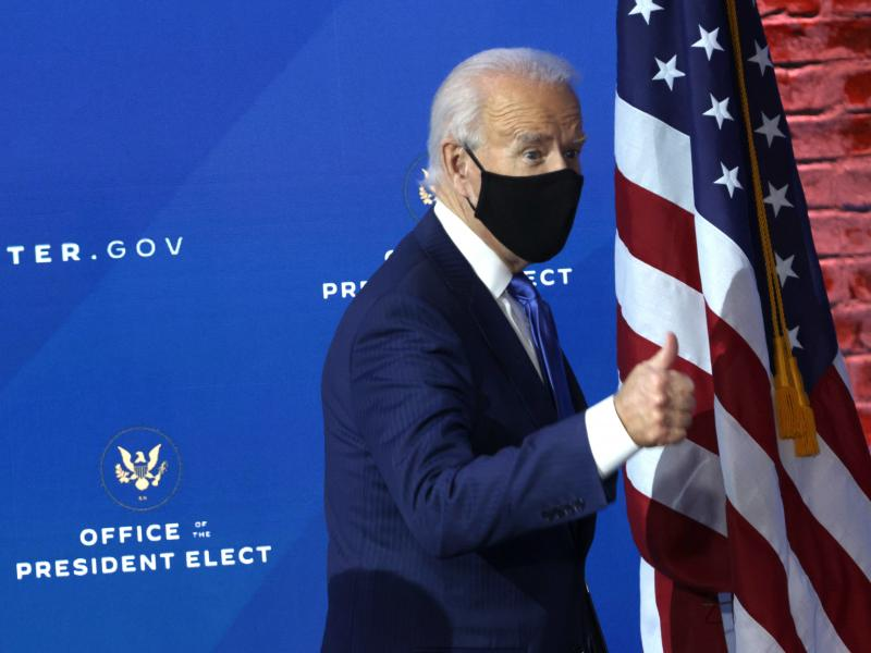 President-elect Joe Biden gives a thumbs-up during an event this week in Wilmington, Del.