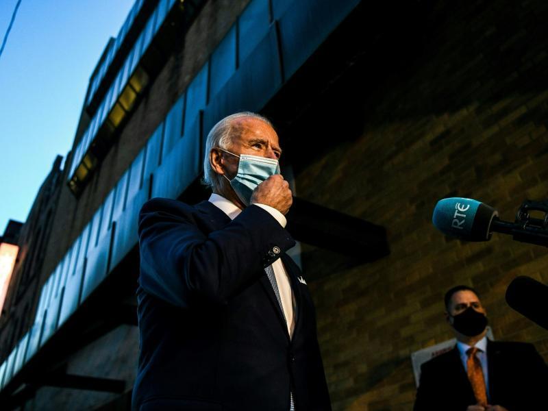 President-elect Joe Biden addresses reporters Tuesday in Wilmington, Del.
