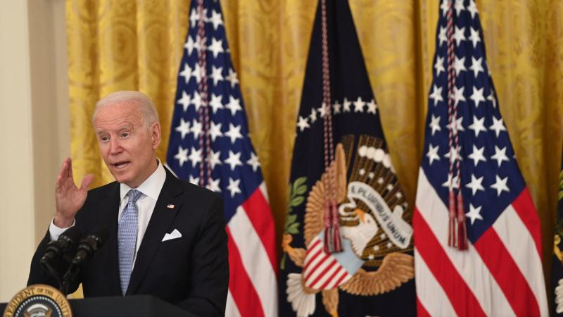 President Biden speaks about the pandemic and the country's vaccination campaign on Thursday at the White House.