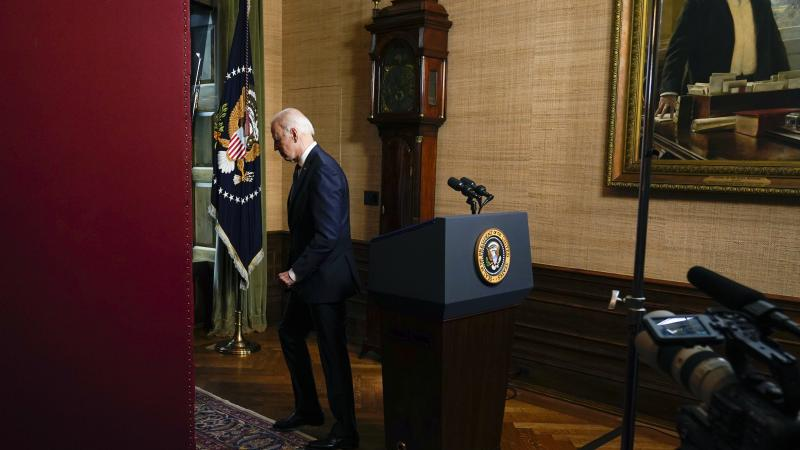 President Biden departs after speaking from the White House Treaty Room on April 14 to announce the withdrawal of U.S. troops from Afghanistan.
