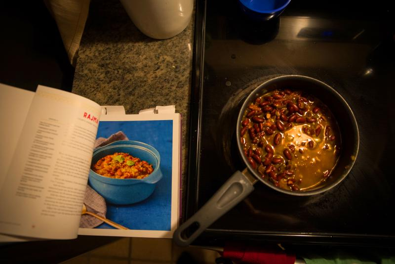 A pot of rajma, a bean stew from the north of India, cooks on the stove. It's one of the recipes included in the new cookbook Bollywood Kitchen.