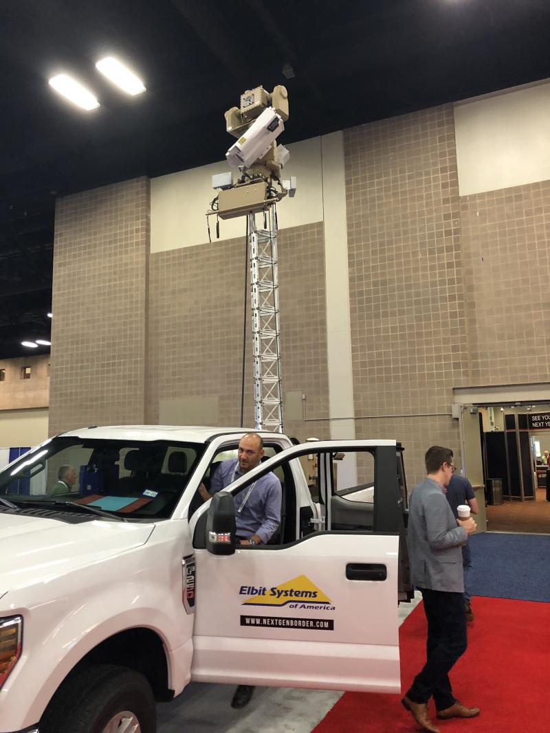 U.S. Customs and Border Protection is testing autonomous surveillance towers like this one, parked at the Border Security Expo in San Antonio, to improve the tracking of illegal crossers. Critics of the border wall say the government should favor virtual