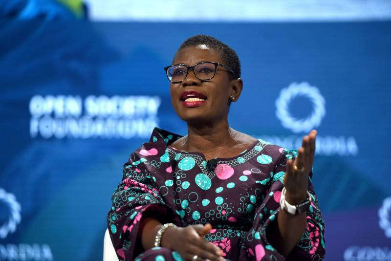 "Yvonne Aki-Sawyerr, the new mayor of Freetown in Sierra Leone, speaks at the 2018 Concordia Annual Summit in New York City. ""For decades, there had been no structure, no focused thinking of a strategy for the city,"" she says. ""The way my brain works is wi"