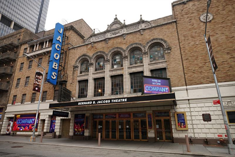New York Governor Andrew Cuomo announced Monday that Broadway could reopen in May. Above, the Bernard B. Jacobs Theatre near Times Square on Jan. 15, 2021.