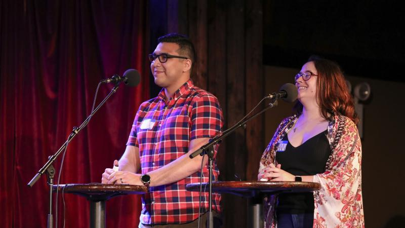 Contestants Isaac Villicana and Ryann Greenberg appear on Ask Me Another at the Bell House in Brooklyn, New York.