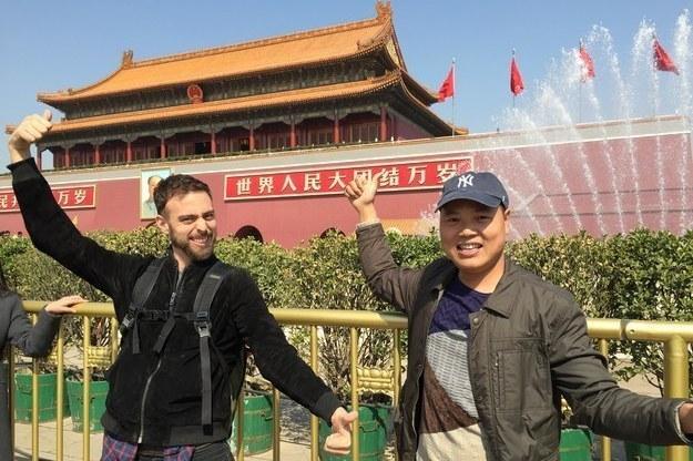"BuzzFeed writer Matt Stopera and ""Brother Orange"" visit Tiananmen Square in Beijing."