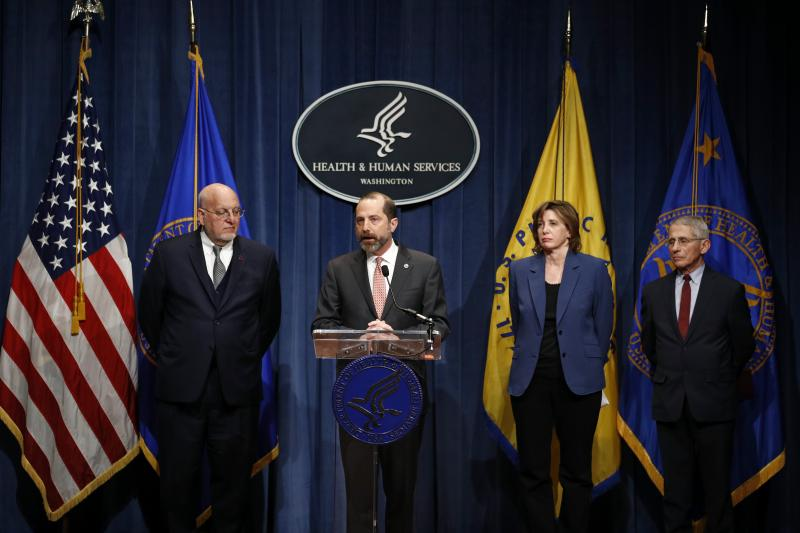 Dr. Nancy Messonnier joins other officials during an early coronavirus briefing in January 2020: Dr. Robert Redfield (left), then CDC director; Alex Azar (center), then Department of Health and Human Services secretary; and Dr. Anthony Fauci.