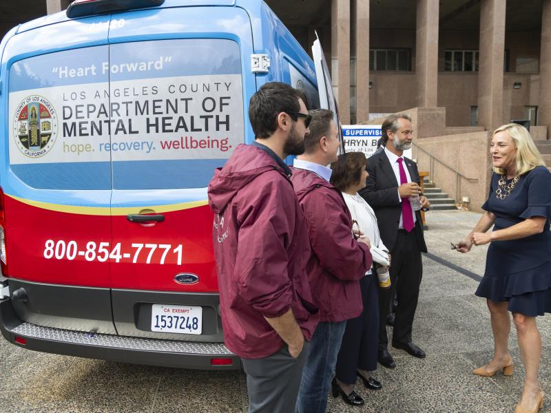 Los Angeles County last fall unveiled one of its 10 Department of Mental Health vans aimed at, among other things, reducing long waiting periods for the transport of individuals experiencing a mental health crisis.