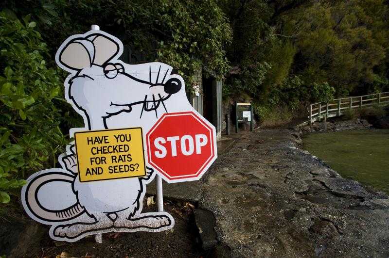 At Ulva Island Bird Sanctuary on Stewart Island, New Zealand, a sign warned visitors in 2008 to check their bags. The fight against invasive predators continues.