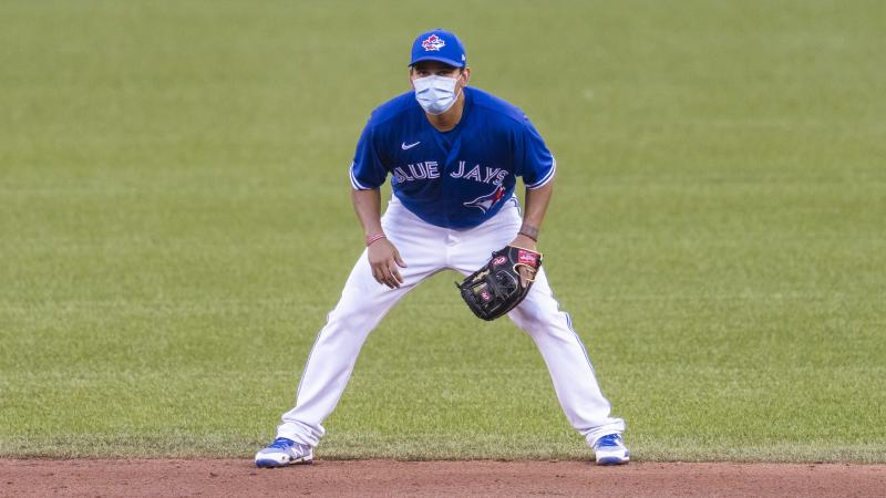 Rubén Tejada of the Toronto Blue Jays is pictured at an intrasquad game at Rogers Centre earlier this month in Toronto. The team received permission for preseason training at the stadium but the Canadian government will not allow regular season games in