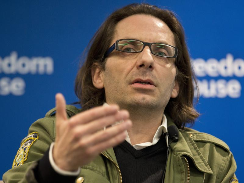 Jean-Baptiste Thoret, Charlie Hebdo's film critic, speaks at a news conference in Washington on May 1. Thoret will receive, on behalf of Charlie Hebdo, the PEN American Center's Freedom of Expression Courage Award in New York on Tuesday.