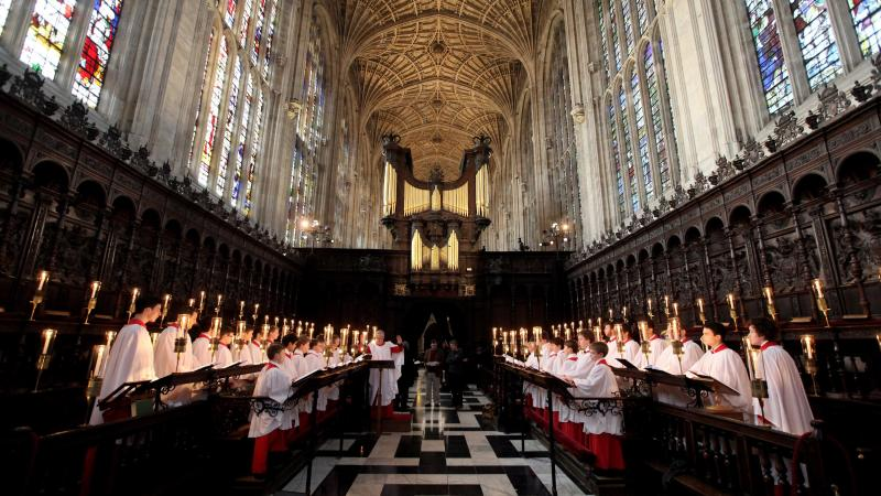 The Choir of King's College Cambridge conduct a rehearsal of their Christmas Eve service of A Festival of Nine Lessons and Carols in King's College Chapel on Dec. 11, 2010 in Cambridge, England.