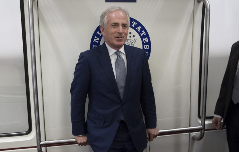 Sen. Bob Corker, R-Tenn., on the Senate subway in November. He announced his retirement last fall, but there's speculation that he may be rethinking that plan.