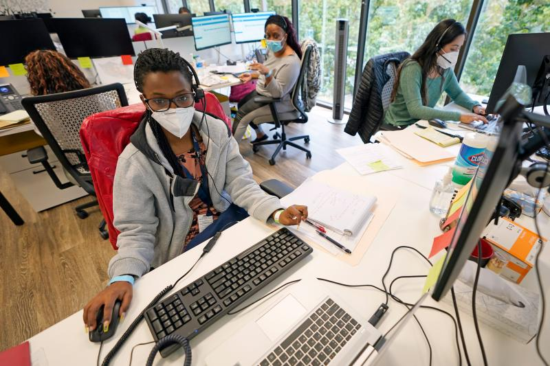 Contact tracers (from left) Christella Uwera, Dishell Freeman and Alejandra Camarillo work at Harris County Public Health Contact Tracing facility in Houston in June.