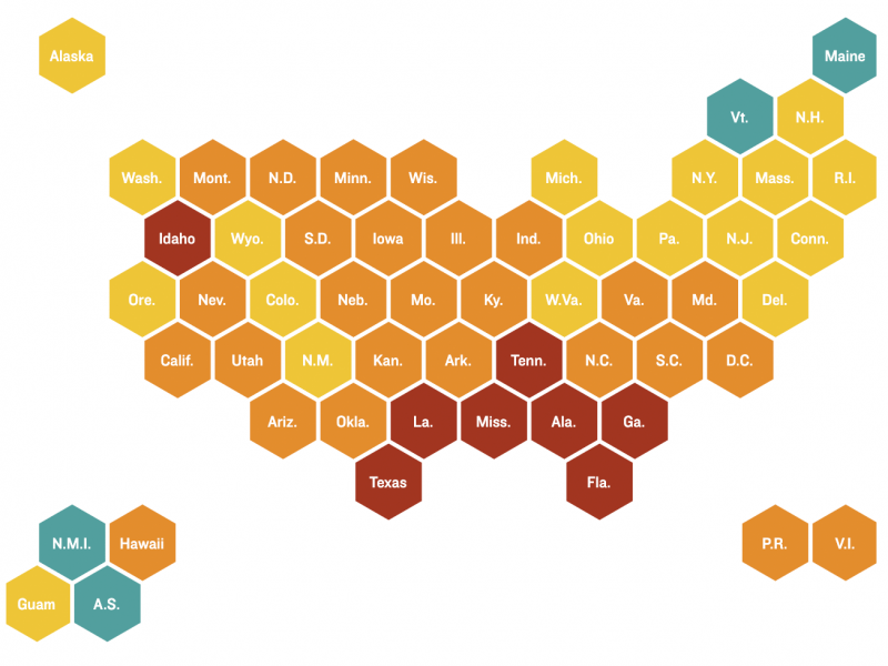 Map showing places in the U.S. with the greatest COVID-19 risk, as of Aug. 11