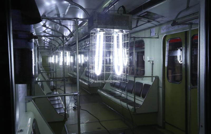 A quartz UV germicidal lamp is used to disinfect a train at the Sviblovo station of the Moscow Metro transit system.
