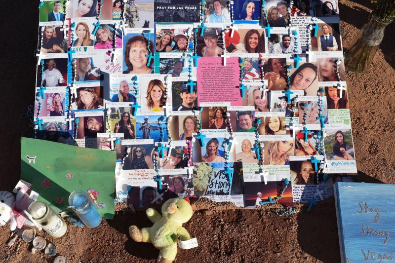 The 58 fatalities in October's mass shooting in Las Vegas were all caused by gunshot wounds, the county coroner and medical examiner said Thursday. A makeshift memorial on the south end of the Las Vegas Strip a few days after the shooting has photos of so