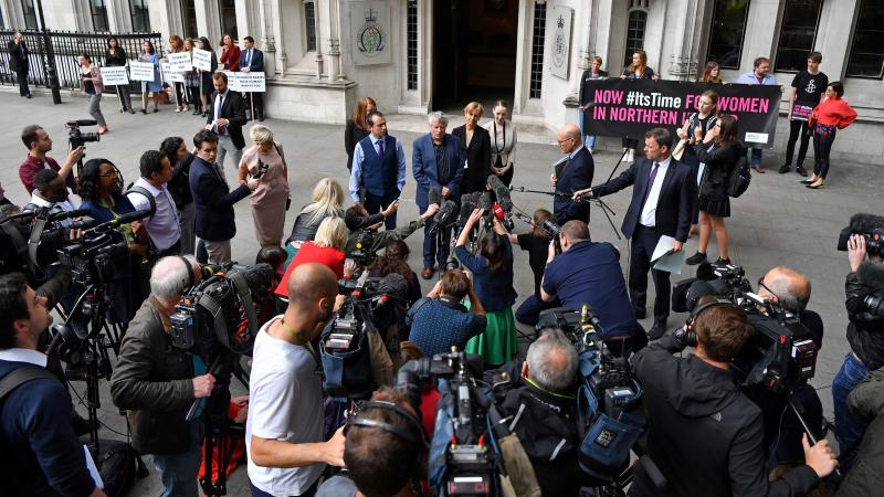 The Northern Ireland Human Rights Commission's chief commissioner, Les Allamby, speaks to members of the media outside of the Supreme Court in London on Thursday. The court said it could not rule on the commissions' challenge to Northern Ireland's strict