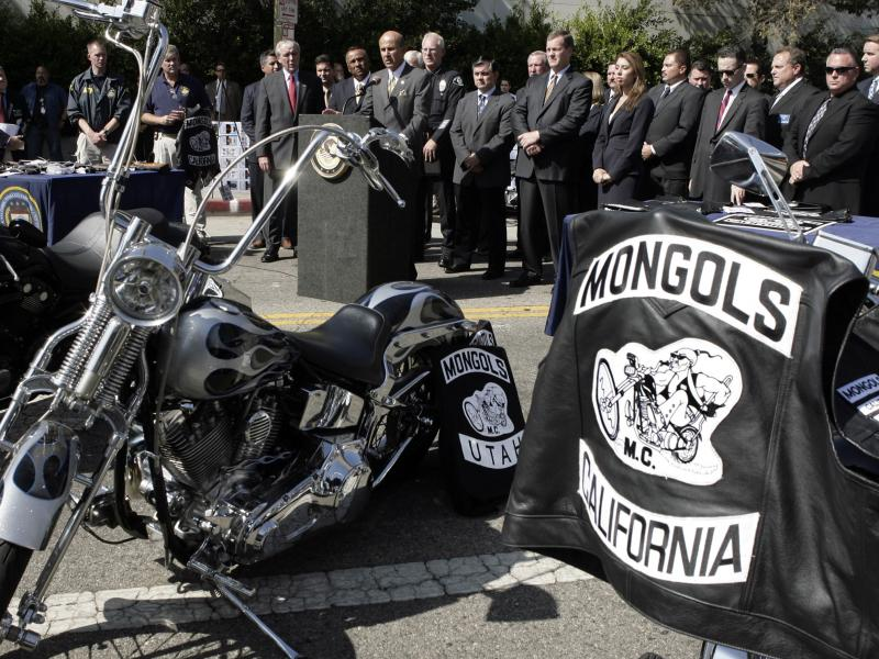 Los Angeles County law enforcement officials announce the arrests of dozens of Mongol motorcycle club members on drug and murder charges in 2008.