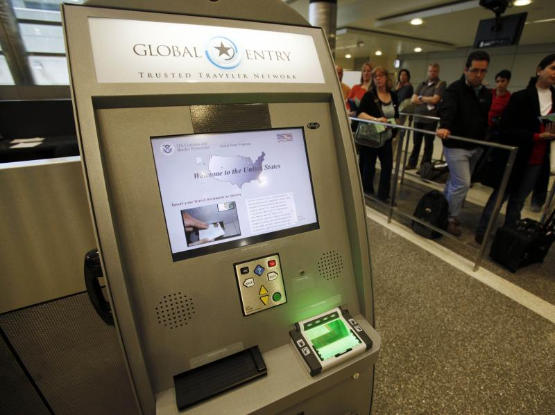 A Global Entry Trusted Traveler Network kiosk awaits arriving international passengers who are registered for the service at Los Angeles International Airport in 2010.