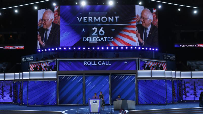 Sen. Bernie Sanders is seen after the Vermont delegation cast their votes during roll call at the 2016 Democratic National Convention in Philadelphia. After the bitter primary between Sanders and Hillary Clinton, the DNC set up a process that has led to r