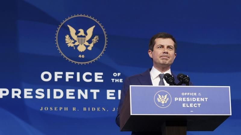 Pete Buttigieg speaks on Dec. 16 after he was nominated to be transportation secretary by then-President-elect Joe Biden. Buttigieg faced a largely friendly reception at his Senate confirmation hearing on Thursday.