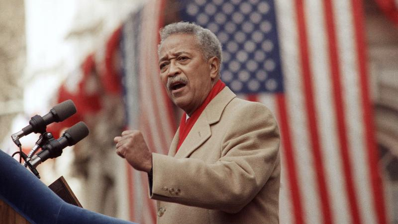 David Dinkins delivers his first speech as mayor of New York in 1990. Dinkins, New York City's first Black mayor, died Monday at 93.