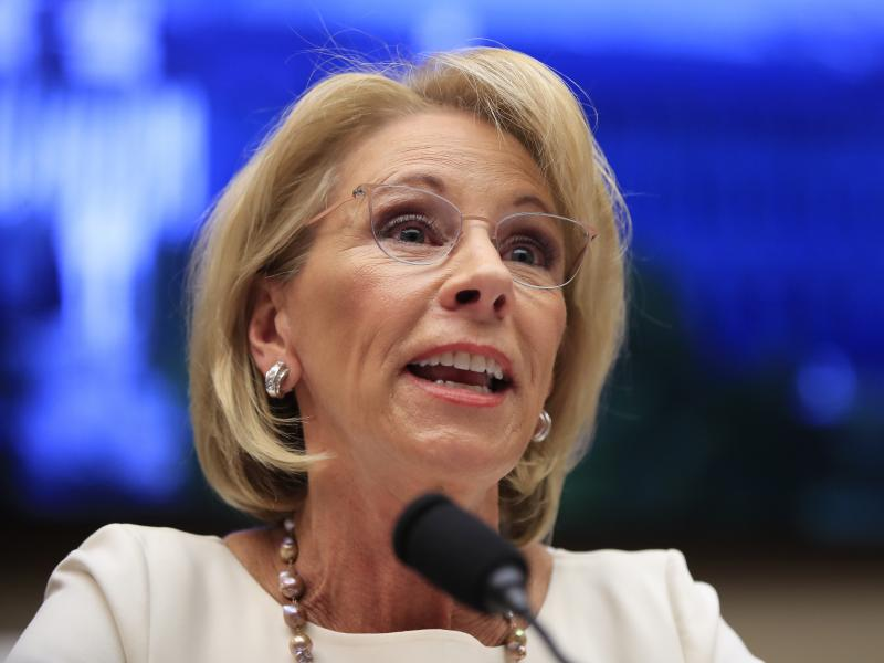 Education Secretary Betsy DeVos testifies before the House Education and Labor Committee in 2019.