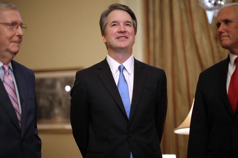 Senate Majority Leader Mitch McConnell (from left), Supreme Court nominee Brett Kavanaugh and Vice President Pence met on Capitol Hill Tuesday, ahead of meetings with Republican senators. Democrats vow to challenge Kavanaugh's nomination in upcoming heari