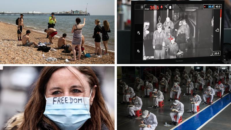 Top left: An officer asks people to observe lockdown rules in Brighton, England. Bottom left: A protester at a lockdown demonstration in Brussels, Belgium last month. Top right: Malaysian health officers screen passengers with a thermal scanner at Kuala L