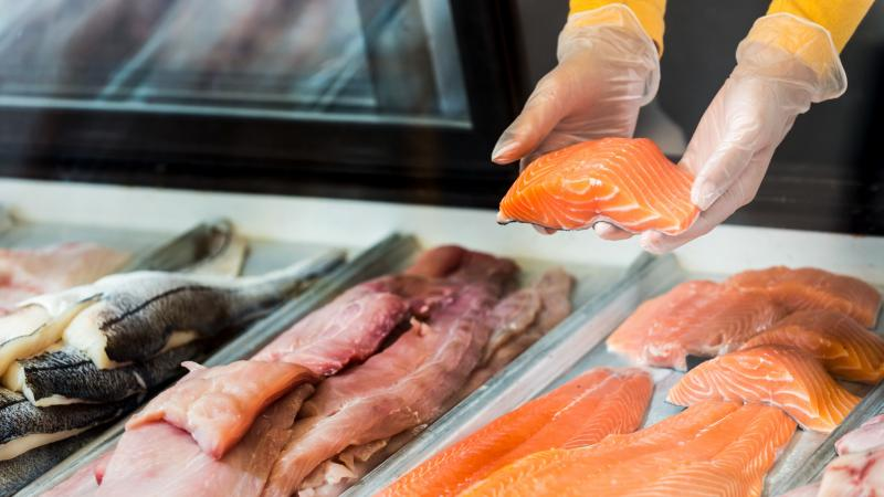Fresh fish fillets for sale in a display case. Concerns over animal welfare have led to changes in recent years in raising livestock. But seafood has been missing from the conversation. One group aims to change that.
