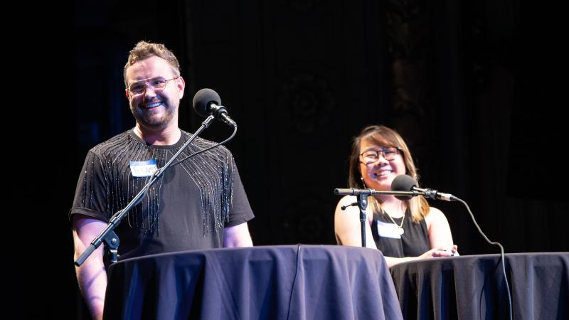 Contestants Jeramey Kraatz and Alice Zhu appear on Ask Me Another at the Majestic Theatre in Dallas, Texas.