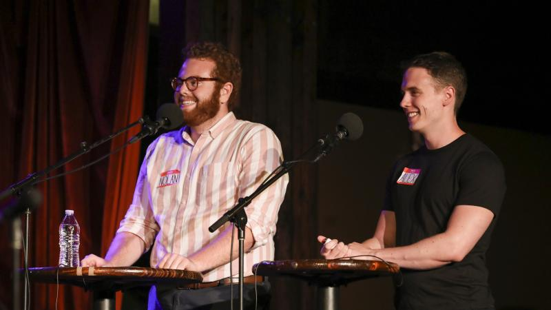 Contestants Nolan Boggess and Alex Smailes appear on Ask Me Another at the Bell House in Brooklyn, New York.