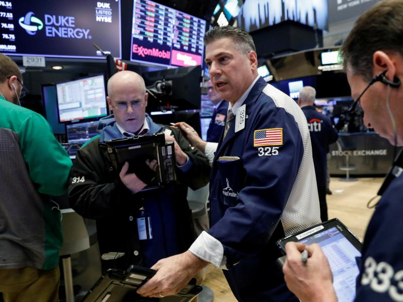 The floor of the New York Stock Exchange on Thursday. The Dow Jones industrial average tumbled after the Trump administration announced plans to impose tariffs on Chinese imports.