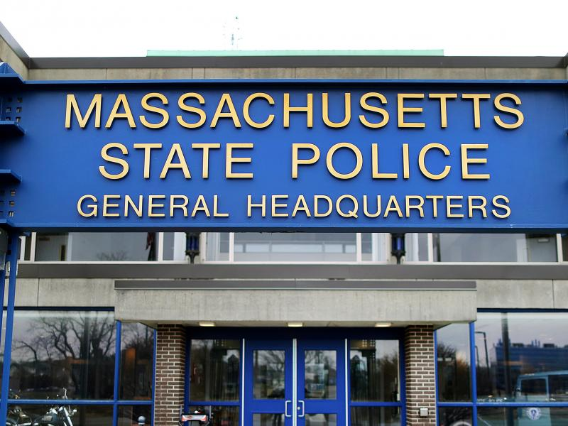 """The Massachusetts State Police headquarters in Framingham, Mass. The State Police Association of Massachusetts said troopers should have """"reasonable alternatives"""" to being required to get vaccinated for COVID-19 such as wearing masks and being tested regu"""